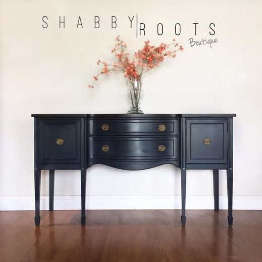 sideboard painted in charcoal dark gray clay furniture paint