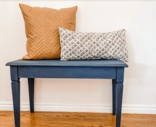 piano bench painted with navy blue clay furniture paint