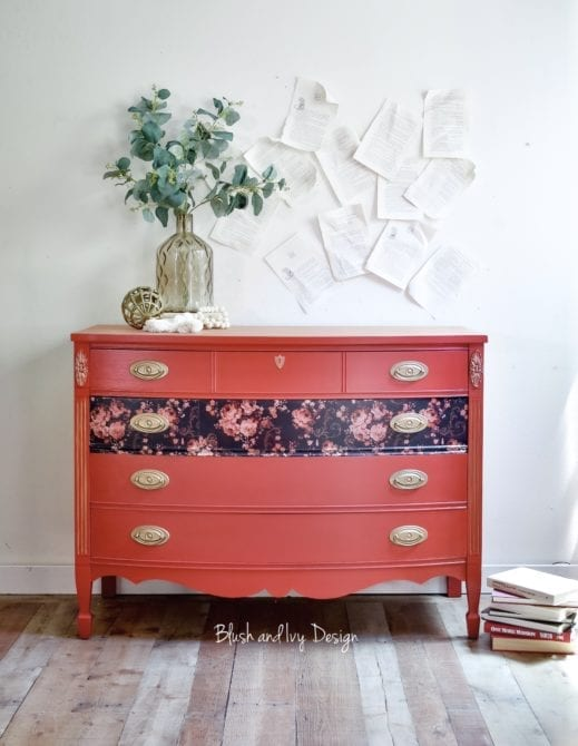 large dresser painted in orange red clay furniture paint
