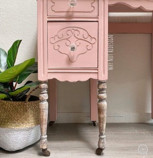 Small desk painted with Pink clay furniture paint