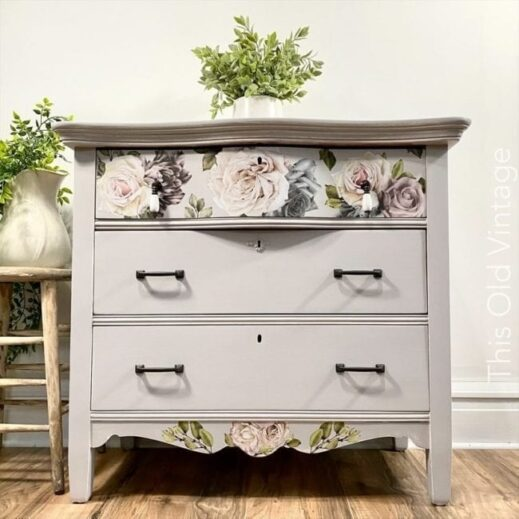 small desk painted with light gray clay furniture paint