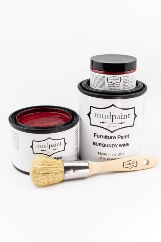 various containers of burgundy wine clay furniture paint