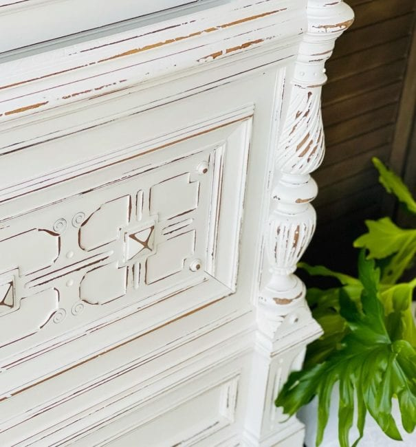 bed headboard painted in plain clay paint
