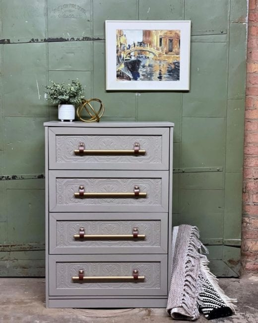 dresser painted in light gray clay furniture paint